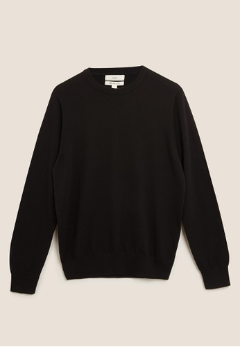 MARKS & SPENCER black M&S Pure Cotton Crew Neck Jumper E5BF1AAF0267EDGS_1