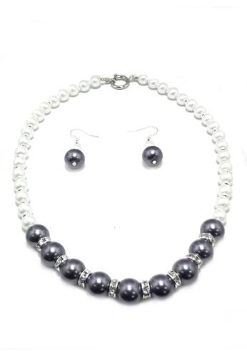 KLF grey and white Kasumiga  Fashion Pearl Set By KLF KL134AC25UMCMY_1