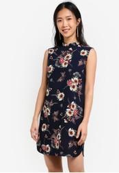 ZALORA navy Printed Mandarin Collar Dress with Trimmings 1AF41AAE1175CFGS_1