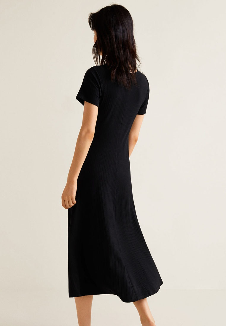 Mango Dress Buttonned Ribbed Ribbed Dress Black Buttonned xOwqB78