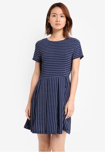 ZALORA blue Short Sleeve Fit & Flare Dress FF797AA0B94392GS_1