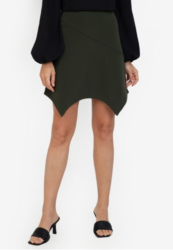 ZALORA WORK green Handkerchief Hem Mini Skirt 5C395AA9339B71GS_1