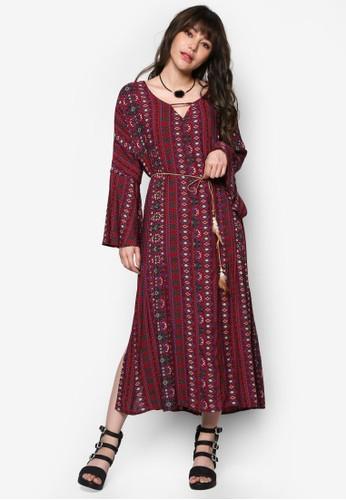 印花繫帶長袖洋裝, esprit 台灣官網服飾, 洋裝