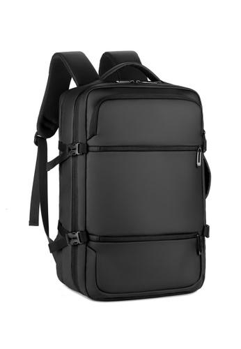 Lara 黑色 男士休閒商務USB充電端口筆記本電腦背包 - 黑色 CD4FEAC55A39CAGS_1