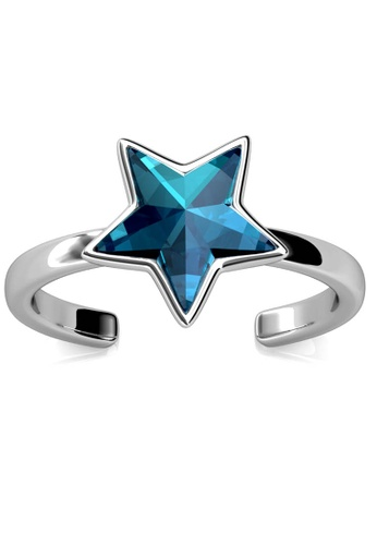 Her Jewellery blue and silver Star Ring (Blue) - Made with premium grade crystals from Austria 027B7ACC783EE8GS_1