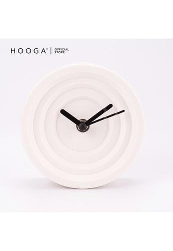 HOOGA Hooga Table Clock Volny Plastic White F48CCHL84B26C4GS_1