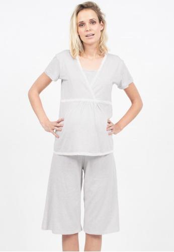 Bove by Spring Maternity grey Knitted Short Sleeves Jessie Nursing Pyjamas LNS801 SP010AA71ODGSG_1