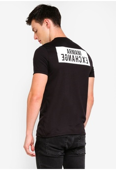 729df5f13396df Armani Exchange black Back Logo V-Neck T-Shirt 66301AA18D79F6GS 1