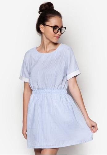 捲袖條zalora taiwan 時尚購物網鞋子紋迷你洋裝, 服飾, 服飾