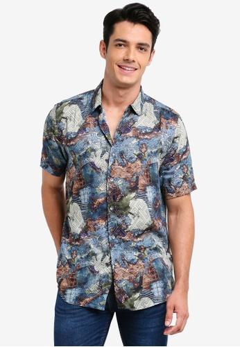 Topman multi Short Sleeve Multi All Over Print Button Through Shirt B2F58AA43AEB8DGS_1