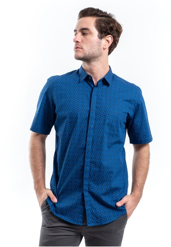 MANLY blue Manly Kemeja Slim Fit Pattern with Button Down Collar Garmeau Blue Short Sleeve C823CAABD69C8CGS_1