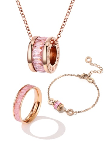 CELOVIS pink and gold CELOVIS - Oceane Pink Cryolite Necklace + Bracelet + Ring Jewellery Set 61B9FAC9DEB363GS_1
