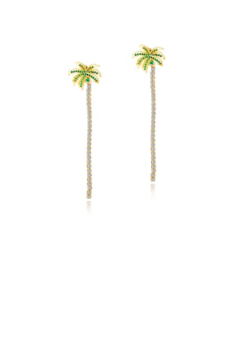 Glamorousky white Simple and Fashion Plated Gold Coconut Fringe Earrings with Green Cubic Zirconia 88BB8AC958CE84GS_1
