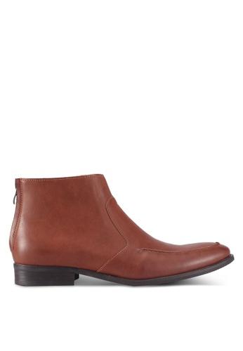 ZALORA brown Faux Leather Chelsea Boots 2055FSHFEF3F0FGS_1