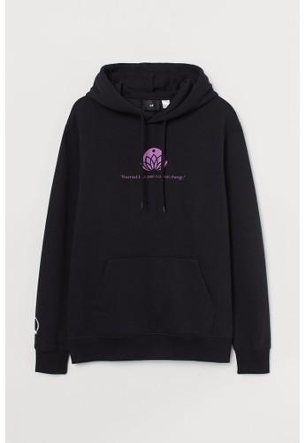 H&M black Regular Fit Hoodie 6E560AAEA32C4DGS_1