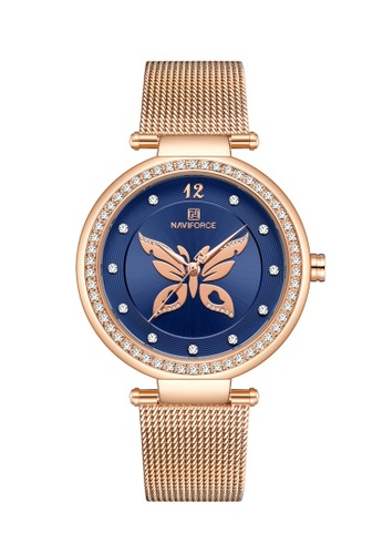 Fashion by Latest Gadget blue Naviforce NF5018 RG/BE Metal Finish Butterfly Quartz Watch 29C80AC8304FDCGS_1