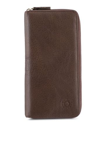 Lumberjacks brown Lumberjacks Genuine Leather Zipper Long Wallet LU545AC0SMDFMY_1