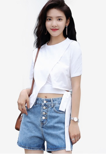 Shopsfashion white Cut Off Cropped Top 1FF32AA7D70E97GS_1
