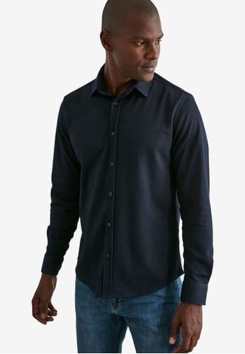 Trendyol navy Textured Regular Fit Long Sleeve Shirt 210ACAA21EA62DGS_1