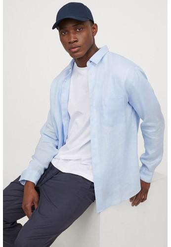 H&M blue Regular Fit Linen shirt 2B055AAA0B5E8CGS_1
