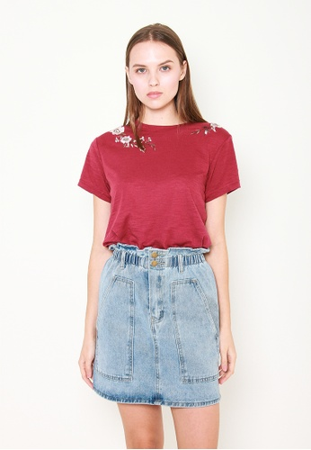 Leline Style red Ruby Embroidery T-Shirt E07C3AA95FF52AGS_1