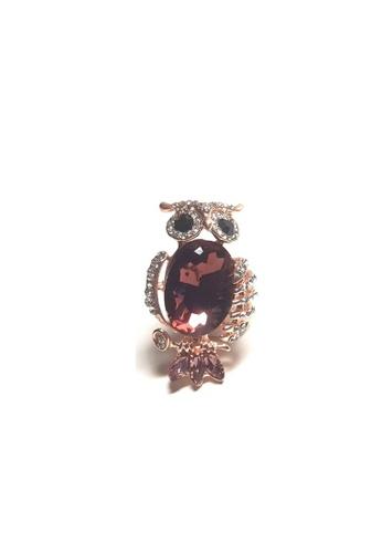 Loveaisyah brown Dark Magenta Owl Brooch B007FAC10B089FGS_1