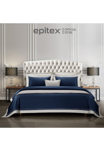 Epitex Epitex Hotel Collection HC2301-5 1200TC Midnight Blue / Silver Bedset. C923EHL9BE1D33GS_1