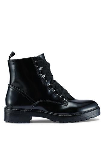 ONLY 黑色 漆皮綁帶踝靴 41346SHF7ECFCBGS_1