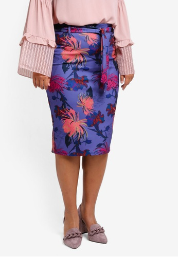LOST INK PLUS multi Plus Size Pencil Skirt In Foxtrot Floral LO776AA0SZ4VMY_1