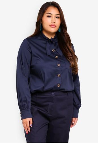 ELVI navy Plus Size Battu Classic Shirt With Neck Tie 61F03AA502B489GS_1