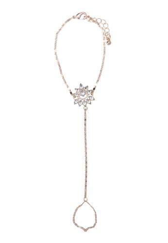 閃鑽zalora 包包 ptt花飾連接式戒指手鍊, 飾品配件, 飾品配件
