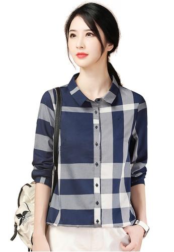 A-IN GIRLS navy Fashion Checkered Lapel Shirt 8F3B0AA76BA5E4GS_1