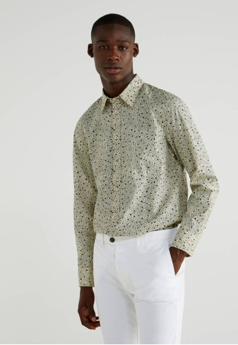 United Colors of Benetton brown Printed Slim Fit Shirt 36C13AA09F8903GS_1