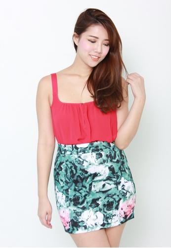 Leline Style green Madeline Floral Skirt LE802AA00JPJSG_1
