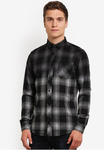 Indicode Jeans black Stockton Gradient Checkered Flannel Shirt IN815AA0RHR9MY_1