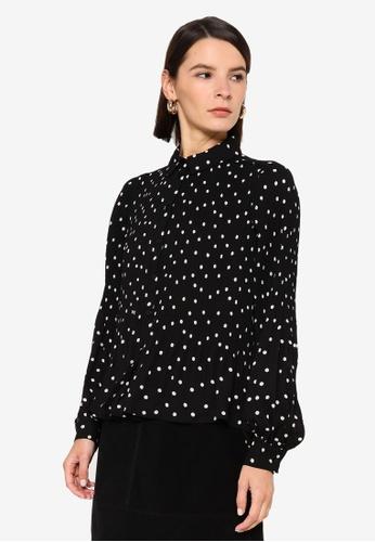 Vero Moda black Dorit L/s Pleat Shirt 25BE7AA00E8558GS_1