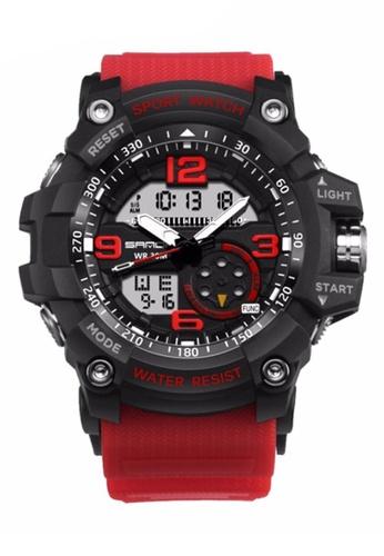 SANDA red SANDA 759 G Style Military Waterproof Outdoor Sports Men's Shockproof Digital Watch (Black Red) SA708AC0RXE9MY_1