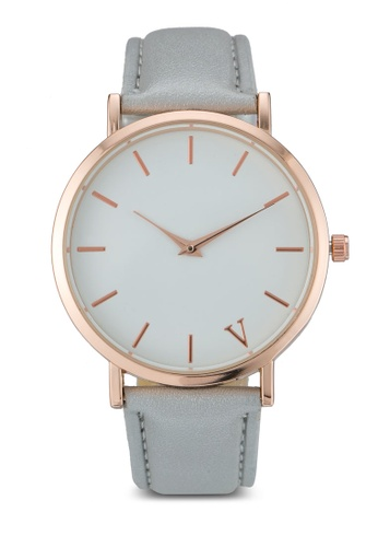 NUVEAU grey Round Face Gold White/Grey Strap Watch NU245AC0SBIMMY_1