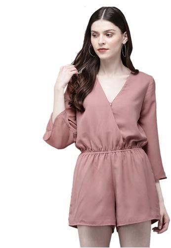 SASSAFRAS pink Baked Pink Long Sleeve Wrap Playsuit F16DEAA7557F47GS_1
