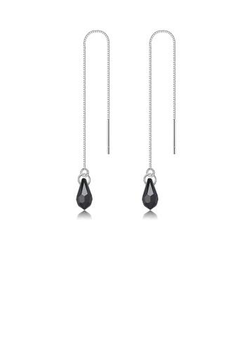 Glamorousky black 925 Sterling Silver Simple Water Drop Shape Black Austrian Element Crystal Tassel Earrings CDB27ACC85C804GS_1