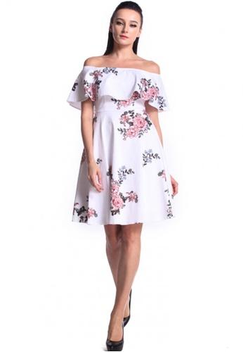 6f27ba82b855 DreamTales Wardrobe white Off Shoulder Ruffles Floral Dress  DCBDCAAD18B5ACGS 1