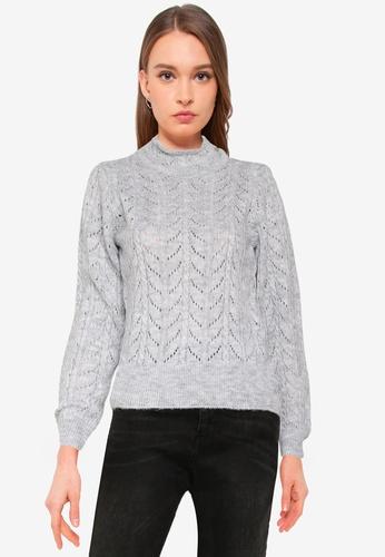 Vero Moda grey Carla Long Sleeves High Neck Top E4519AA8167F4FGS_1