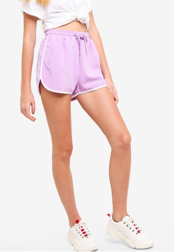 Something Borrowed purple Track Shorts With Trimming Detail FF3A7AA12A4169GS_1