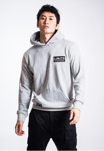 L.I.M.I.T.E 灰色 男裝透明感印花有帽衛衣 F0613AA96905F7GS_1