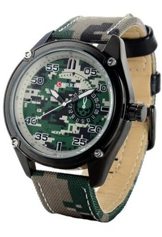 Curren 8183 Men's Camouflage Leather Strap Wrist Watch