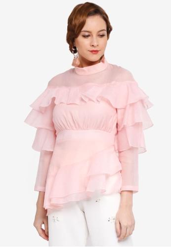 Lubna pink Layered Top 4B18DAA0797B4BGS_1