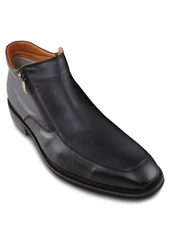 雙拉鍊低筒皮鞋,zalora 評價 鞋, 鞋