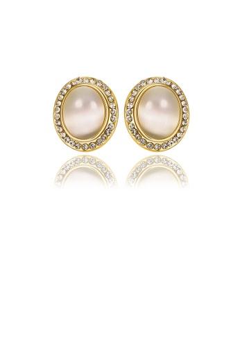 Glamorousky white Elegant Plated Gold Geometric Chrysoberyl Cat Eye Oval Opal Stud Earrings 87BA7ACA760978GS_1