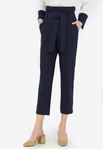 Hopeshow navy Cropped Pants With Sash B2DDDAA3948236GS_1