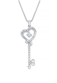 Mabelle Silver 18k 750 White Gold Diamond Key Heart Pendant With Free Necklace 293c9ac216a97egs 1